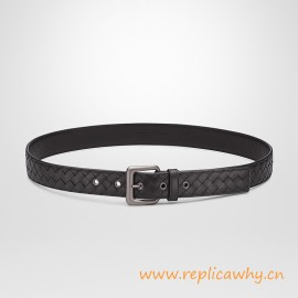 Original Design Hand-woven Leather Belt 35MM with Matte-gunmetal Hardware