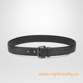 Original Design Hand-woven Leather Belt 40MM with Matte-gunmetal Hardware