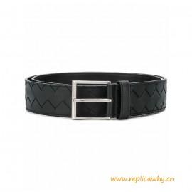 Top Quality Men's Black Smooth Leather Belt