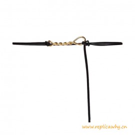 Top Quality Double Strap Belt in Nappa Leather Twisted Hardware