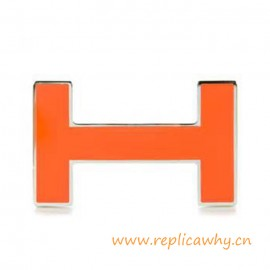 Original H Lacquered Orange H Buckle with Silver Border