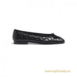 Top Quality Beige Black Aged Calfskin Ballerinas Flats