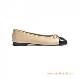 Top Quality Beige Black Lambskin Ballerinas Flats