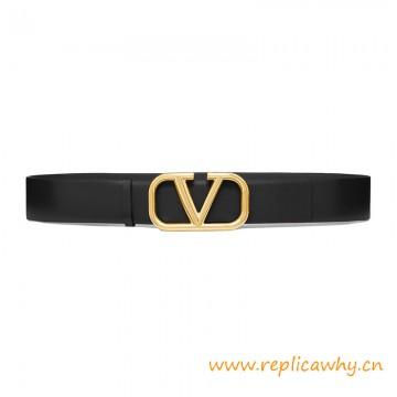 Top Quality Garavani V LOGO Leather Belt Width 4CM