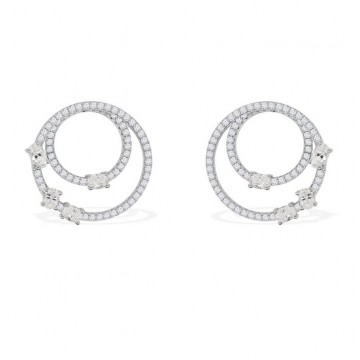 Original Full Pave with Zirconia Stones Silver Earring in Pairs