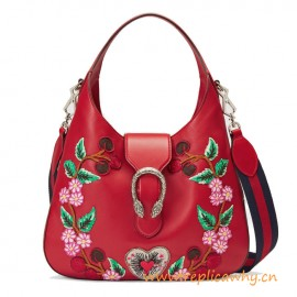 Original Dionysus Embroidered Leather Hobo Shoulder Bag for Women