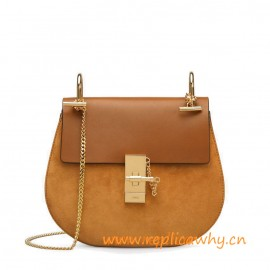 Original Drew Shoulder Bag in Suede Calfskin and Smooth Calfskin for Women
