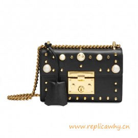 Original Padlock Studded Calfskin Leather Small Shoulder Bag