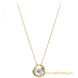 Amulette De C Original Design Mother Of Pearl Necklace with Diamonds