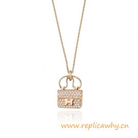 Original Amulette Pendant in Rose Gold Set with Diamonds on Adjustable Chain