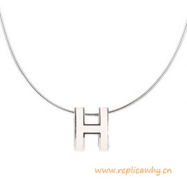 Original Pop H Pendant in Lacquer with Sterling Silver Chain Necklace