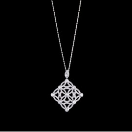 "Original Extremely ""Lace Decoration"" Pendant in 18K White Gold Set with 208 Brilliant-cut Diamonds"