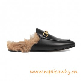 Women's Princetown Leather Slipper Trimmed with Lamb Fur