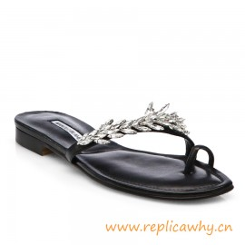 Women's Black Nadira Jeweled Metallic Leather Sandals