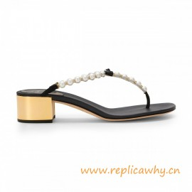 Leather Sandal with Pearls Black Satin with Geometric Gold Low Heels