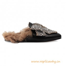 Original Princetown Slipper in Lather Lined with Fur with an Exaggerated Crystal Bow