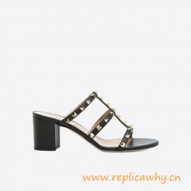 Original Quality Rockstud Calfskin Leather Heel Height 60 mm Sandal