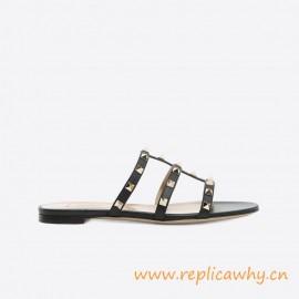 Original Quality Rockstud Calfskin Leather Slide Sandal