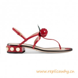 Quality Low Heel Thong Sandal with a Thick Glass Pearl Studded Heel