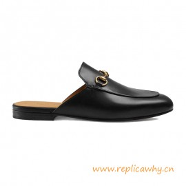Original Design Princetown Black Leather Women's Slipper