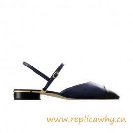 Top Quality Fashion Sandals Lambskin Navy Blue Black