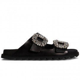 Slidy Viv' Sandals in Metallic Leather with Side Buckles Covered with Crystals