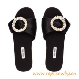 Original Quality Sandals Buckle Embellished with Pearls and Crystals