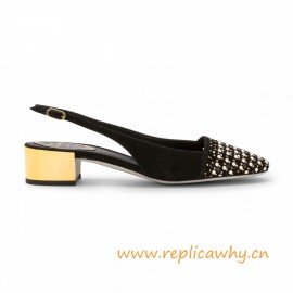 Slingback in Suede with Pearls Low Gold Heel and Glitter