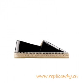 Top Quality Espadrilles Patent Calfskin Black for Women