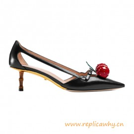 Original Low Heel Leather Cherry Pump with Bamboo Effect Heel