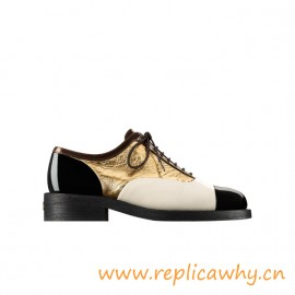 Original Quality Lace Ups Lambskin Calfskin Goatskin Gold Shoes