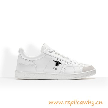 Lace-up Sneaker in White Calfskin Leather wit Bee Signature and CD