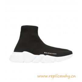 Quality Speed Black Stretch-Knit High-Top Sneakers