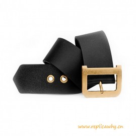 Top Quality Black Calfskin Belt with Aged D Gold-tone Metal Buckle