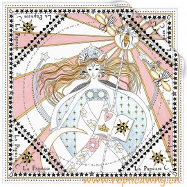 Original White Silk Square Printed with the High Priestess Tarot Card