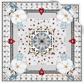 Original White Silk Square Printed with the Justice Tarot Card