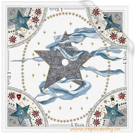 Original White Silk Square Printed with the Star Tarot Card