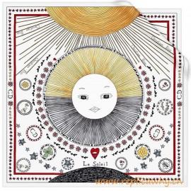 Original White Silk Square Printed with the Sun Tarot Card