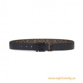 Top Quality Brown Leather and Fabric Reversible Belt