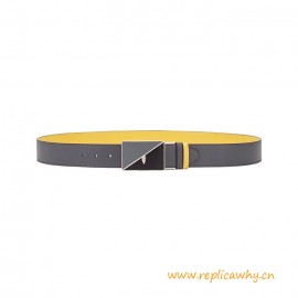 Top Quality Grey Leather F Design Reversible Belt