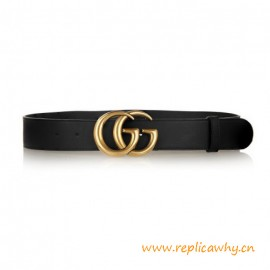 Top Quality Original Leather Belt with Antiqued Brass Gold Buckle