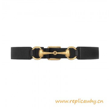 Top Quality Leather Belt with Horsebit a Square Buckle Closure