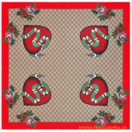 Original Limited Edition Silk Scarf with Snake Heart and Flower Print