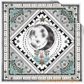 White Silk Twill Square Printed with the Moon Tarot Card