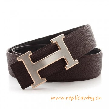 Original Clemence Reversible Coffee Belt Silver H Buckle with Rose Gold Edge