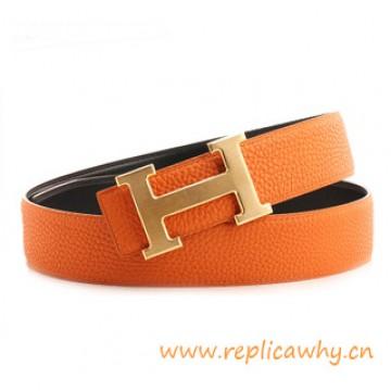 Original Clemence Reversible Brushed H Buckle Belt Orange with Orange Stitching