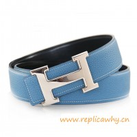 Original Clemence Reversible Belt Sky Blue with H Buckle