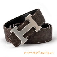 Original Clemence Reversible Belt Coffee with H Buckle