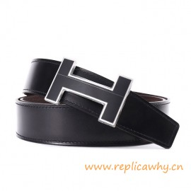Original Clemence Reversible Coffee Belt Lacquered Black Buckle with Silver Edge