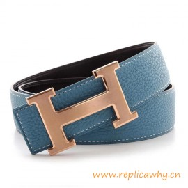 Original Clemence Reversible Belt Blue with Rose Gold Brushed H Buckle